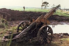 Colour photo of the captured WW1 German gun thrown into a pond in Dornoch in 1921 and dredged up in 1991