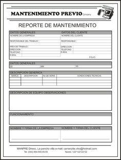 MANTEMIENTO PREVENTIVO Y CORRECTIVO DEL PC: ACTIVIDAD 4: Formatos para mantenimiento del PC