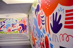 JESS3 - Projects / Mindjet Office Murals:    Mindjet, looking to inspire their team by launching a revamped physical office space in line with their product relaunch, approached JESS3 to create custom murals for several office walls. Having done our own mural in the original JESS3 HQ, our DC office, we were excited to tackle a new mural experience.