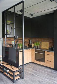 Loft Kitchen, Kitchen Room Design, Home Decor Kitchen, Interior Design Kitchen, Kitchen Ideas, Kitchen Inspiration, Interior Ideas, Industrial Kitchen Design, Modern Kitchen Design