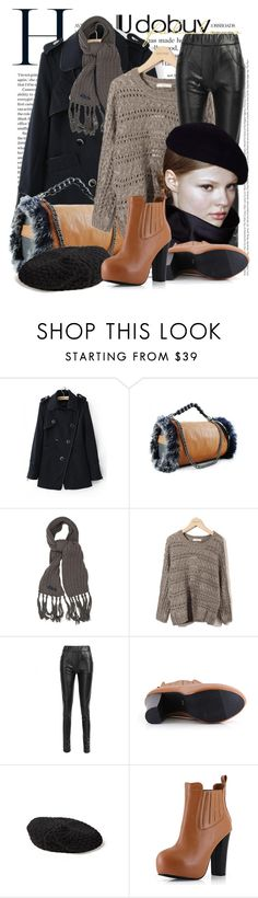 """""""Untitled #655"""" by keti-lady ❤ liked on Polyvore featuring French Connection, DKNY, knit berets, 2012, handbags, pants, boots, sweater, scarf and coat"""