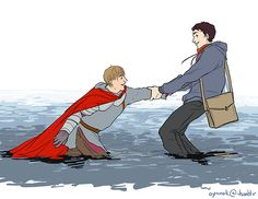 "Merlin is bringing back Arthur to life. Arthur, welcome back. ""But, my gosh, Merlin, what are you wearing??"""