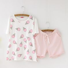 Girly Girl Originals Pajamas on Girly Girl の To Alice.Cute Summer Ice Cream Pajamas Pink Comfy Short Sleepwear Gg319 make you more charming on dates.