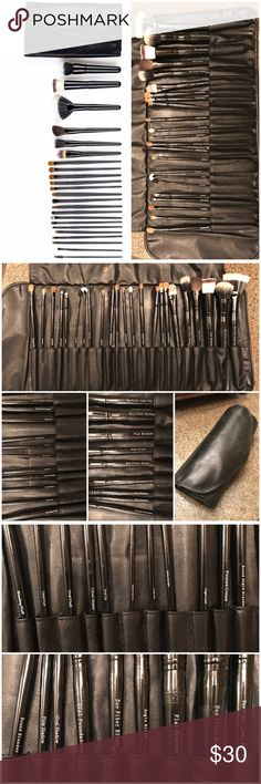Crown Brush Professional Makeup Brush Roll Only some of the brushes are used (they have been cleaned and sanitized thoroughly with a brush cleaner). Includes roll for travel, storage. Crown Brush Makeup Brushes & Tools