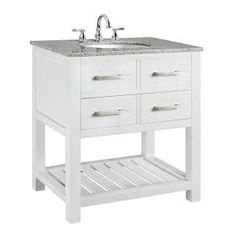 Fraser 31 In. W X 21.5 In. D Vanity In White With Solid Granite Vanity Top In…