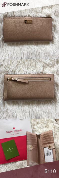 Gorgeous kate spade New York rose gold wallet NWT✨ Gorgeous kate spade New York rose gold wallet NWT✨perfect condition. Convenient snap closure as seen in collage photo. Comes with all tags/ and Kate spade gift bag✨ kate spade Bags Wallets