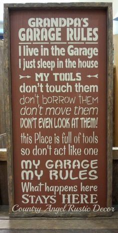 GRANDPA'S GARAGE RULES Handmade Wood Typography Sign, Garage Sign, or Shop sign, Grandpa gift, Tool sign, Handpainted Sign, Framed,  Rustic