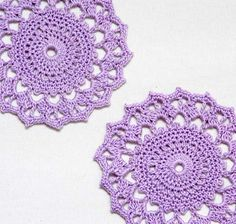 Lavender Lace Crochet Accent Doilies Set Tea by NutmegCottage