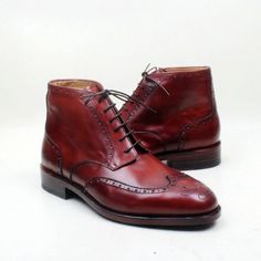 Hand-Painted Cherry Genuine Leather Shoes - Exclusive Men's World Ankle Shoes, Suede Shoes, Leather Shoes, Shoes Men, Cow Leather, Real Leather, Buy Shoes, Dress Shoes, Exclusive Shoes