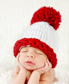 899d1fe56e6 Items similar to Newborn - 3 Months POM POM Hat in Red and White