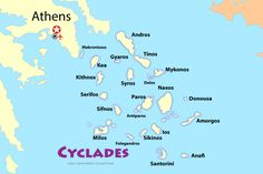 Start Your Greek Island Hopping in the Cyclades!: The Cyclades Islands: Sun Sea, and Ancient Culture a Short Boat Ride From Athens Greek Islands Map, Greek Islands To Visit, Island Map, Greece Islands, Greek Islands Vacation, Greece Map, Santorini Greece, Greece Travel, Athens Greece