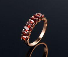 $359 Oval Red Garnet Engagement Ring 14K Rose Gold Wedding Band 3x5mm 7Stones
