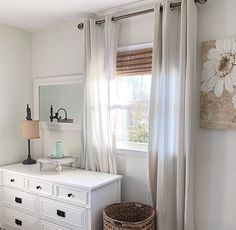 Neutral guest room with bamboo blinds, jute basket and touch of nautical rope somewhere Room, House, Bamboo Blinds, Jute Basket, Home Decor, Nursery Blinds, Home Diy, Blinds, Big Houses