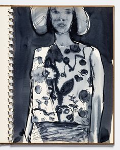 Diebenkorn, Ink wash with pen and ink, Page 09 from Sketchbook # 13 [standing woman with hat]