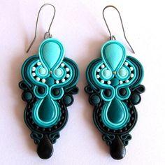 handmade earrings mint green turquoise black chandelier big drop large earrings