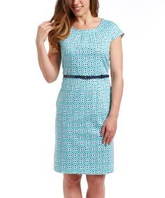 Love this Teal Belted Sheath Dress by Eden Court on #zulily! #zulilyfinds