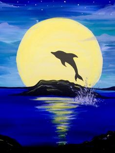 Moonrise Dolphin Splash at TGI Friday's (Hackensack) Cute Canvas Paintings, Small Canvas Art, Easy Canvas Painting, Indian Art Paintings, Nature Paintings, Oil Pastel Art, Oil Pastel Drawings, Art Drawings, Sillouette Painting