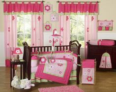 Baby Girl Bedding Set: Pink and Green Flower Collection 9 piece Crib Bedding set has all that your little bundle of joy will need. Baby Girl Bedding Sets, Baby Girl Room Decor, Baby Room Diy, Baby Crib Bedding, Crib Sets, Diy Baby, Girl Nursery, Nursery Crib, Nursery Ideas