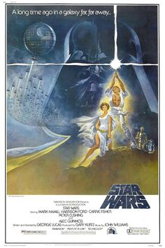 Directed by George Lucas.  With Mark Hamill, Harrison Ford, Carrie Fisher, Alec Guinness. Luke Skywalker joins forces with a Jedi Knight, a cocky pilot, a wookiee and two droids to save the galaxy from the Empire's world-destroying battle-station, while also attempting to rescue Princess Leia from the evil Darth Vader.