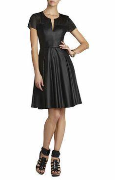 Karlie Perforated Pleated Dress   BCBG
