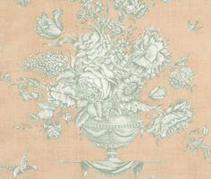 Pierre Deux GARDENIA ROSE TOILE Wallpaper VICTORIAN Urn Birds Red