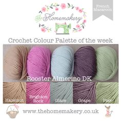 French Macaroon Crochet Colour Palette uses beautiful pastel hued yarn from Rooster Almerino DK , superbly soft yarn made from baby alpaca and merino wool.