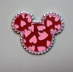 DISNEY PIN MICKEY ICON HEAD PINK RED HEARTS VALENTINES DAY