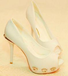 Elegant White Peep-toe Stiletto Heels with  Gold Crown