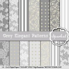 Grey LACE Digital Paper, 12X12 Scrapbooking Invitation paper Gorgeous Depth and High Resolution Always  Instant Download by sparkal. Explore more products on http://sparkal.etsy.com