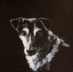 """A dog Sonia"" Materials: ink, acryl, cardboard 2013"