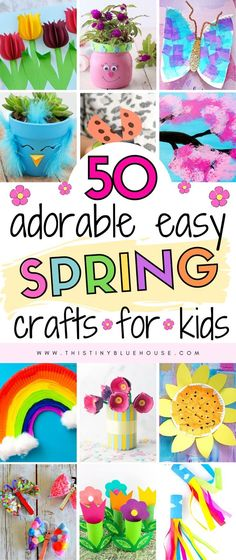 50 Delightful Spring Crafts For Kids This Tiny Blue House Welcome Spring with these fun adorable spring crafts for kids From flowers to suncatchers there s an easy spring craft for even the youngest kids springcrafts Spring Crafts For Kids, Crafts For Kids To Make, Summer Crafts, Holiday Crafts, Arts And Crafts For Kids Easy, Easy Toddler Crafts, Fun Easy Crafts, Fun Projects For Kids, Creative Crafts