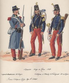 Siege of Rome 1849; French Infantry L to R Carabineer 22nd Light Infantry & Voltigeur & Trumpeter 50th Line Infantry By H.Boisselier.