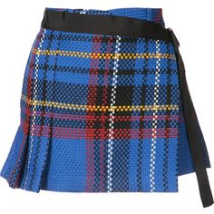 Sacai woven check skort ($1,325) ❤ liked on Polyvore featuring skirts, mini skirts, blue, multi color skirt, blue skirt, checkered mini skirt, short mini skirts and sacai