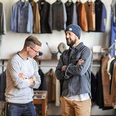 This picture is all kinds of good. Our good buddy Dana from @slightlyalabama (available in store and online) and our favorite instagrammer @outlinedcloth (wearing our powder melange beanie) chattin about how to properly cross your arms like a dude. #NYmade