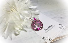 Hot Pink Gray Button Silver Wire Wrapped Pendant by Susoodles