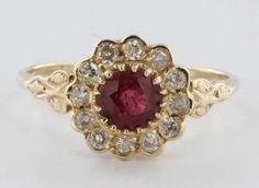 Vintage Estate Diamond Ruby Princess 14 Karat Yellow Gold Engagement Ring Fine Used Jewelry  $750 USD