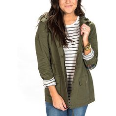f71691752 Jacey Lane Olive Plaid-Accent Military Jacket ( 33) ❤ liked on Polyvore  featuring