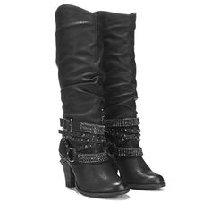 Put it on: the Swag Boot from Not Rated.Faux leather upper in a slouchy knee-high boot style with a round toePull on entryCupped heelHarness strap and decorated strap details16 inch shaft height15 inch shaft circumferenceSmooth faux leather lining, lightly padded insoleTraction outsole, 3 inch stacked heel