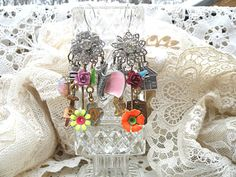 earrings chandelier assemblage mismatch random by lilyofthevally