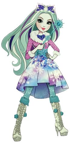 Ever After High: Crystal Winter! Crystal has long, wavy, mint blue hair streaked with white and violet. She has pale lavender skin, light-blue eyes, and pink lips (which is lipstick). She dresses appropriately to the winter weather where she lives, although she does not need to keep herself warm.
