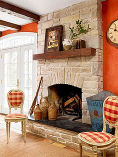 Stone Fireplace Idea Old World Charm. I like the mantel......brick would work well too.
