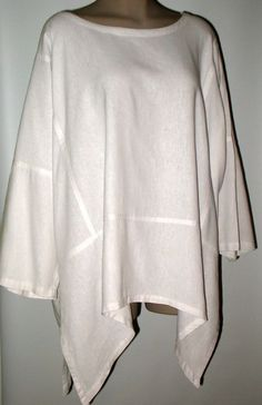 SIMPLE PEOPLE Hand Made Linen Blend Poncho Top - Lagenlook - OSFM - WHITE #SimplePeople #PonchoScarfTop #Versatile