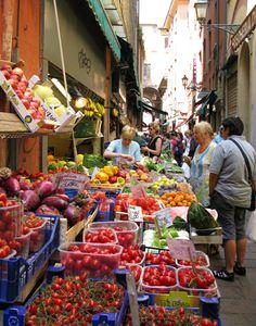 shopping for dinner in Bologna