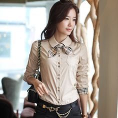 2014 Hitz women long leeve cotton casual shirt blouses atacado roupas blusas femininas camisas femininas plus size tie 126