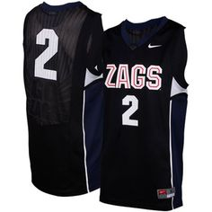 Nike Gonzaga Bulldogs #2 Replica Aerographic Basketball Jersey - Black #fanatics