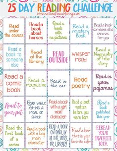 Perfect 25 Day Reading Challenge for Kids kids reading activities free printables reading challenge Fun Book Ideas Reading is important Kids Books Reading Bingo, Reading Charts, Reading Club, Teaching Reading, Reading Groups, Reading Logs, Reading Day, Reading Genres, Kindergarten Reading Activities