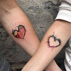 Heart Tatoo, Couple Tattoo Heart, Married Couple Tattoos, Couple Tattoos Love, Tattoos For Guys, Couples Matching Tattoos, Couple Tattoo Ideas, Matching Relationship Tattoos, Disney Couple Tattoos