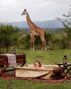 Bathtime in the Bush at Cottars Camp in #Kenya #Africa www.nitarudiafricasafaris.com