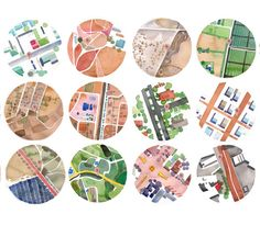 watercolor maps, bicycle portraits.