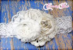 Diadema blanca, dedicación bebé, bautismo, Baby Girl accesorios para el cabello, pedazo del pelo del cordón, flores de tela, arco del pelo del bebé niña, pinza de pelo de la boda